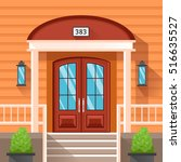 front door of house decorated... | Shutterstock .eps vector #516635527