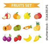 fruit set vector illustration.... | Shutterstock .eps vector #516638191