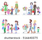 set of four happy families... | Shutterstock .eps vector #516640375