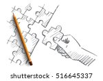 vector hand drawn puzzle hand...   Shutterstock .eps vector #516645337