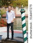 "Small photo of VENICE, ITALY - SEPTEMBER 10, 2016: Actor of Disney Channel TV serie ""Alex & Co."" Saul Nanni during the 73th Venice Film Festival 2016 in Venice, Italy"