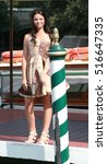 "Small photo of VENICE, ITALY - SEPTEMBER 10, 2016: Actress of Disney Channel TV serie ""Alex & Co."" Eleonora Gaggero during the 73th Venice Film Festival 2016 in Venice, Italy"