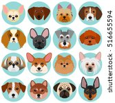 Small Dog Faces Set With Circle