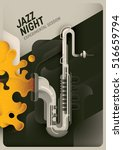 retro style jazz night poster.... | Shutterstock .eps vector #516659794