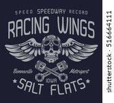motorcycle racing  skull... | Shutterstock .eps vector #516664111