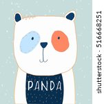 cute panda illustration for baby tee print