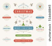 christmas labels and badges... | Shutterstock .eps vector #516668845