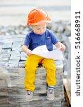 portrait of cute little builder ... | Shutterstock . vector #516668911