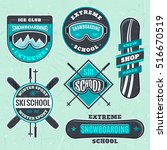 snowboarding ski school logo ... | Shutterstock .eps vector #516670519