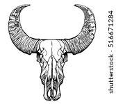 buffalo skull  hand drawn... | Shutterstock .eps vector #516671284