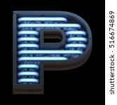 futuristic font with blue neon... | Shutterstock . vector #516674869