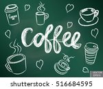 a set of cups for coffee on a... | Shutterstock .eps vector #516684595