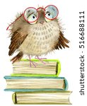 Cute Cartoon Owl. Watercolor...