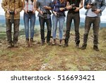 group of travel photographers... | Shutterstock . vector #516693421