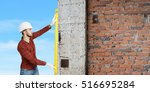 builder man with level . mixed... | Shutterstock . vector #516695284