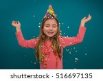 Little Cute Girl Celebratin Ne...