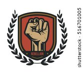 propaganda badge  fist hand | Shutterstock .eps vector #516701005