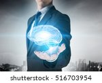 person of great mind . mixed... | Shutterstock . vector #516703954