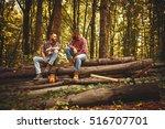 two friends lumberjack worker...   Shutterstock . vector #516707701
