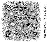cartoon cute doodles hand drawn ... | Shutterstock .eps vector #516713701
