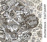 cartoon cute doodles hand drawn ... | Shutterstock .eps vector #516716449