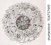 cartoon cute doodles hand drawn ... | Shutterstock .eps vector #516717445