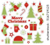 christmas fashion patches.... | Shutterstock .eps vector #516719125