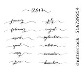 handwritten months january ... | Shutterstock .eps vector #516739354