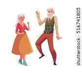 Old  Senior Couple Dancing...