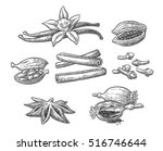 set of spices. anise star ... | Shutterstock .eps vector #516746644