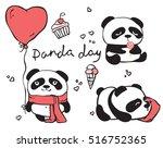 panda day. cute panda set with... | Shutterstock .eps vector #516752365