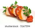 slices of the smoked chicken on ... | Shutterstock . vector #5167594