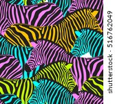 colorful zebra seamless pattern.... | Shutterstock .eps vector #516762049