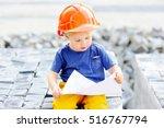 portrait of cute little builder ... | Shutterstock . vector #516767794