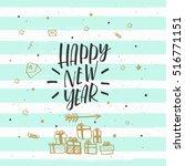 christmas greeting card ... | Shutterstock .eps vector #516771151