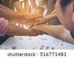 business people join hand... | Shutterstock . vector #516771481