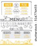cafe menu food placemat... | Shutterstock .eps vector #516776455