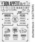 placemat menu restaurant food... | Shutterstock .eps vector #516776491