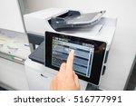 woman press printer screen for... | Shutterstock . vector #516777991