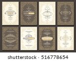 monogram creative cards... | Shutterstock .eps vector #516778654