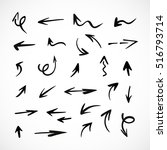 hand drawn arrows  vector set | Shutterstock .eps vector #516793714