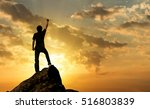 man on the peak of mountain and ... | Shutterstock . vector #516803839