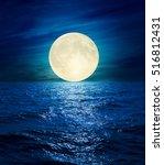 big moon in clouds over night...   Shutterstock . vector #516812431