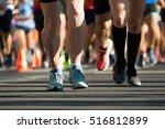 senior running a marathon in... | Shutterstock . vector #516812899
