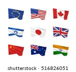 vector flags. a set of 9 wavy... | Shutterstock .eps vector #516826051
