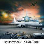 air freight and cargo plane... | Shutterstock . vector #516826081