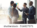 multiracial business team... | Shutterstock . vector #516827371