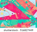 memphis seamless pattern.... | Shutterstock .eps vector #516827449