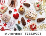 christmas background with... | Shutterstock . vector #516829375