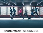 group of diverse urban runners... | Shutterstock . vector #516839311